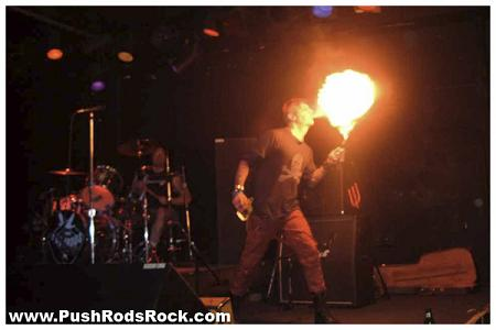 PushRods guitar player and singer blowing fire