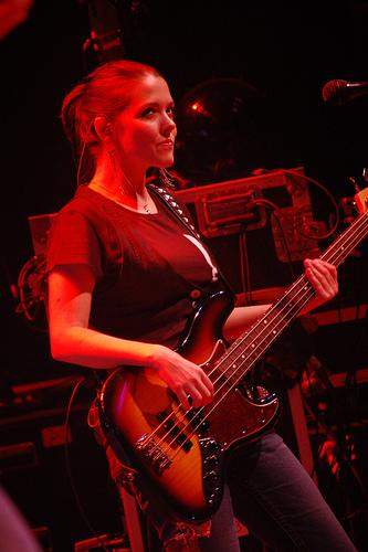 Annie playing bass