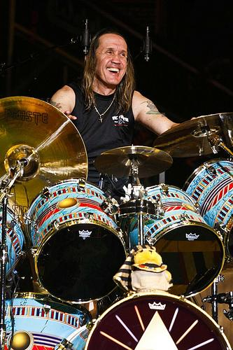 Nicko McBrain playing drums