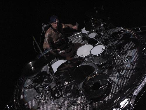 Travis playing drums